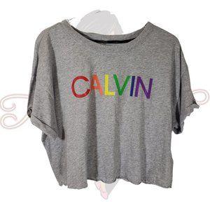 Calvin Klein Gray Cropped Short Sleeve Tee Sz XL